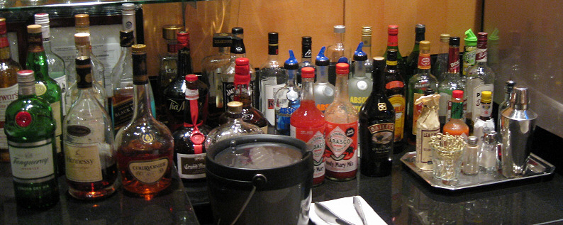 The hard alcohol selection at American Airlines Flagship lounge in Chicago O'Hare
