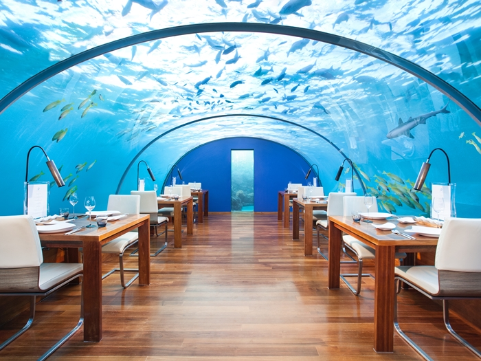 Ithaa underwater restaurant at Hilton's Conrad Maldives - Rangali Island