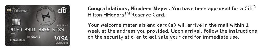 citi hilton reserve approved