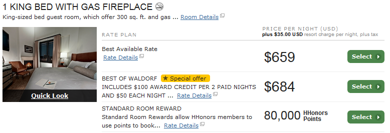 "The nice round number for the room's award points price tells you it's Hilton's ""standard"" rate, meaning it's available for a free night certificate redemption. A $659/night room for free...not a bad deal for taking a few minutes to apply for a card and make sure you hit the bonus spending!"