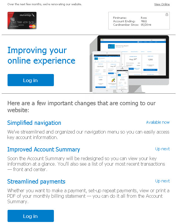 Barclay's website improvement announcement