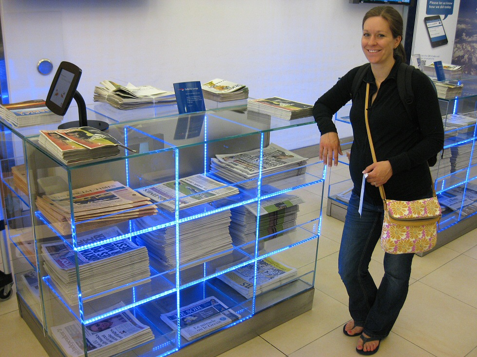 In Europe, even the magazine racks are futuristic and chic.