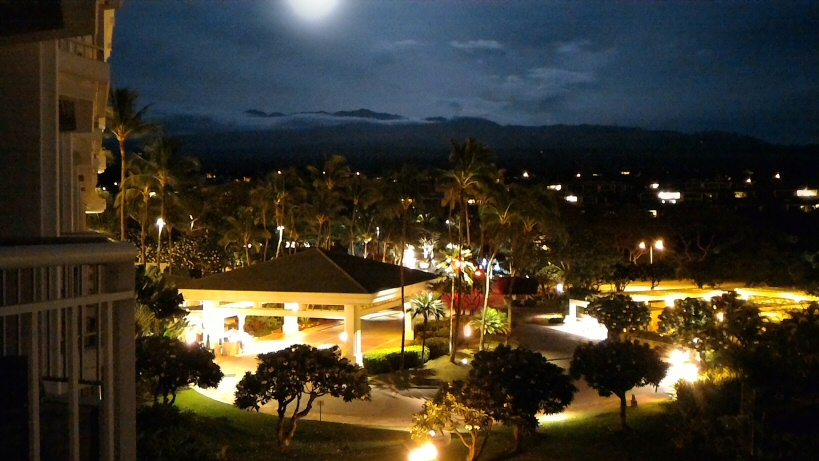 Haleakala from Grand Wailea night