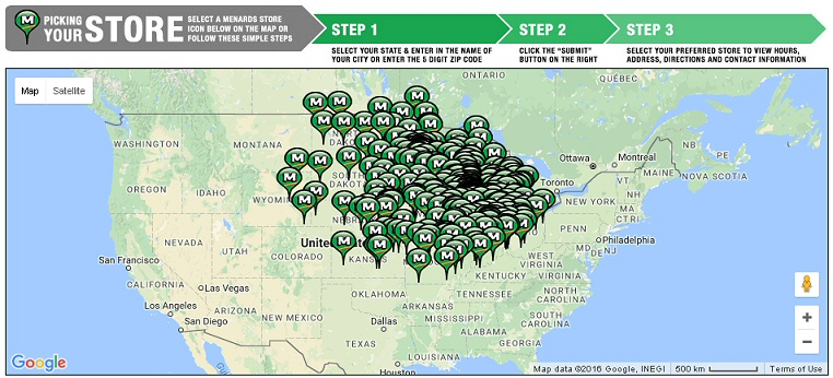 Menards store locations are concentrated in the Great Lakes region.