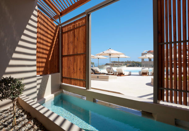Every standard room at Domes Noruz Chania has its own plunge pool.