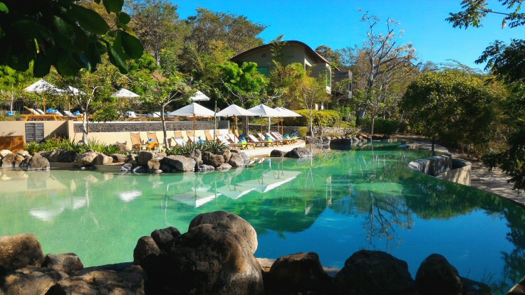 Morning sun on the zero entry pool at the Andaz Papagayo in Guanacaste, Costa Rica..