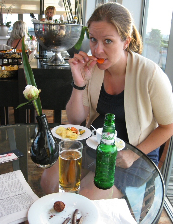Poor Nicoleen was 7 months pregnant, so she couldn't take advantage of all the complimentary beer and wine that were available in parts of our trip. Pictured here, she finds solace in a carrot chip.