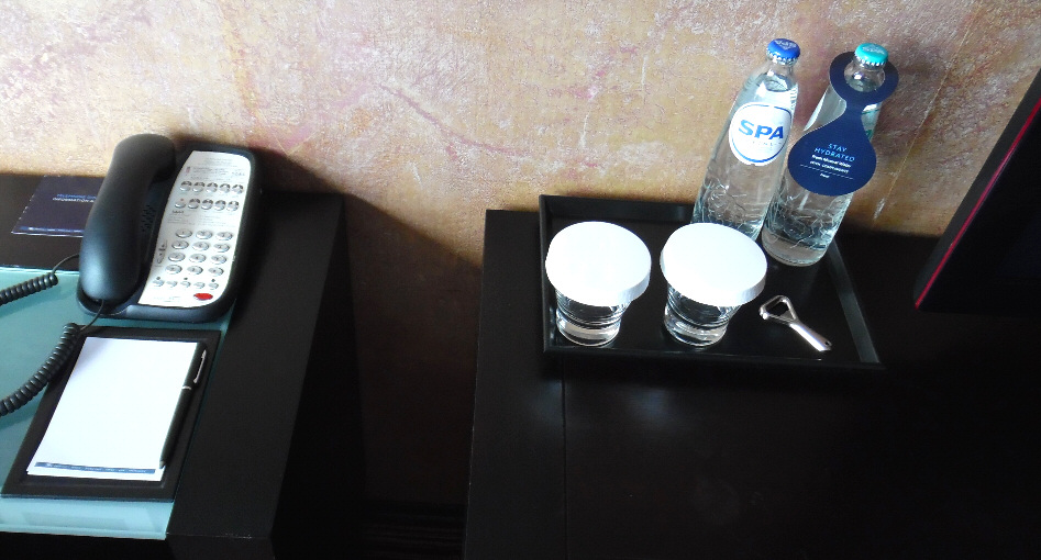 The complimentary bottles of water we got as a Gold Status perk. The Hilton pen that was by the note pad was the nicest hotel pen I have ever pilfered (until the Grand Wailea, that is).