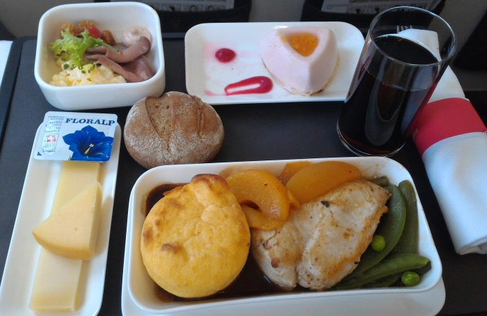 swissair business class lunch meal
