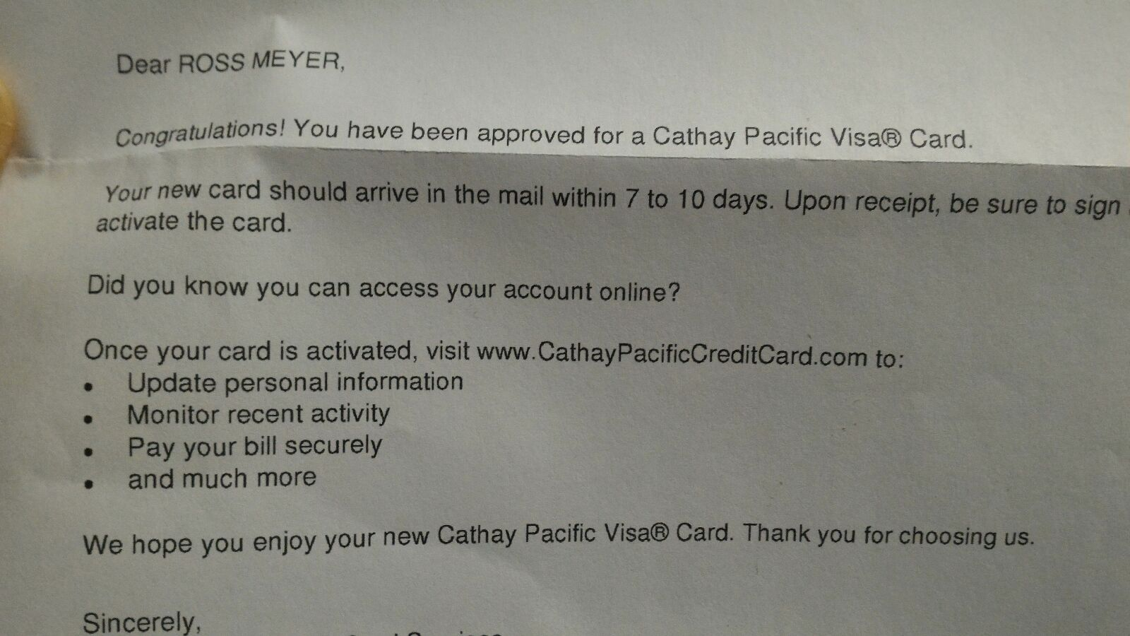 cathay pacific letter